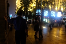 Dancing outside Wangfujing Cathedral