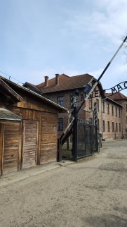 "The Infamous gate of Auschwitz I, with the beginning of the wording ""Arbeit Macht Frei"" (work sets you free)"