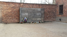 The execution wall at Auschwitz I.