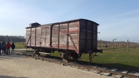 Reconstructed train carriage at Birkenau