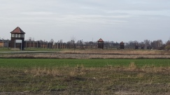 Attempt to show even part of the size of Birkenau, obligatory watch towers, fences and wooden huts