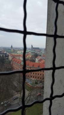 The view from the high bell towards St Mary's Basilica, Wawel Castle Cathedral