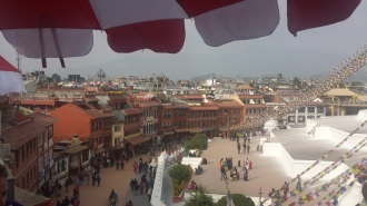 The view of Kathmandu over Boudhanath Stupa