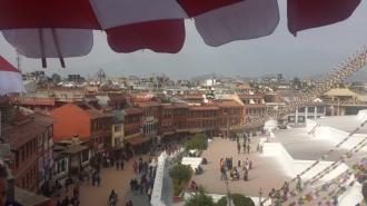 The view of Kathmandu over Boudhanath Stupa