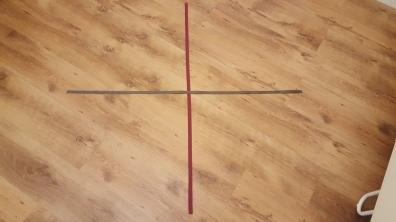 Step 1 - sewing the ribbon into a cross