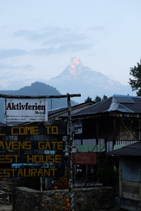 6am on day 3, and worth being awake to see Machapuchare (Fishtail)