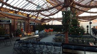 Waiting hall, all Christmas'd up