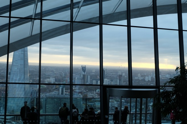 Towards South London from inside the Sky Gardens
